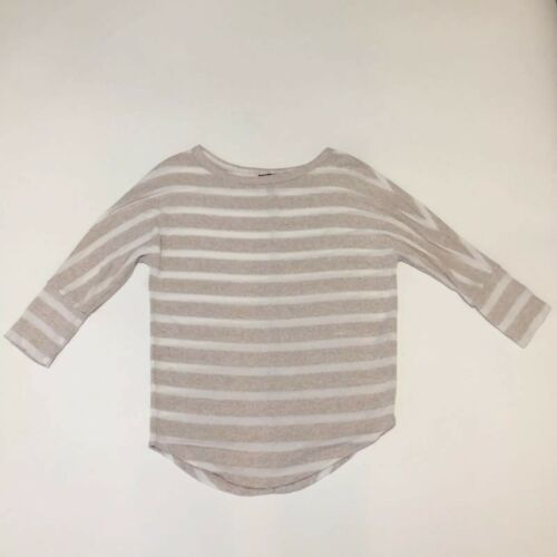Primary image for Mix by 41 Hawthorn Tan White Striped Pullover Sweater Dolman Sleeve Womens XS