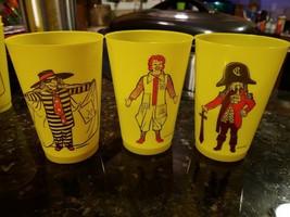3 Vtg Yellow Plastic McDonald Cups All Different Ronald Burglar Crook - $23.45