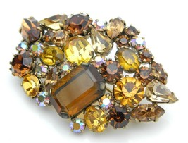 Austrian Made Brown Topaz Glass Rhinestone Gold Tone Brooch Pin Vintage - $49.49