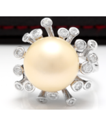 Splendid Natural 15mm South Sea Pearl and Diamond 14K Solid White Gold Ring - $1,782.00