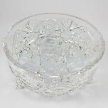 Vintage Crystal Leaded Cut Glass 3 Footed Bowl Centerpiece Serving ABP - $28.04