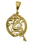 Large 24K Gold Plated Feng Shui Chinese Dragon Pendant Charm life streng... - $117.24