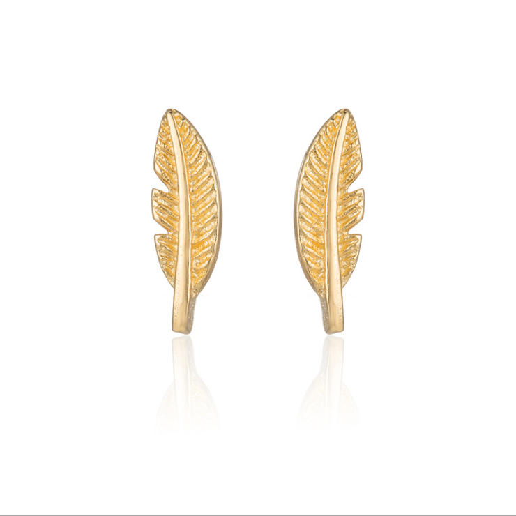 5 pairs of  Feather Golden Stud Earring Stud (NED210A) - $12.50