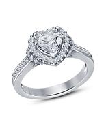 Stunning Heart Shape White Gold Fn & White CZ Engagement Wedding Ring Band - $48.25