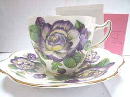 ROSINA TEACUP AND SAUCER - PURPLE AND YELLOW FLOWERS - J - $24.00