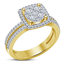 Modern Unique Yellow Gold Fn 925 Silver White Lab Diamond Women's Weddin... - $72.93