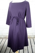Motherhood Maternity Boat Neck Dress Front Tie Long Sleeve Size L Purple... - $35.64