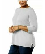 Karen Scott Women's Grey Heather Luxsoft Rolled-Neck Sweater Plus Size 1... - $13.60