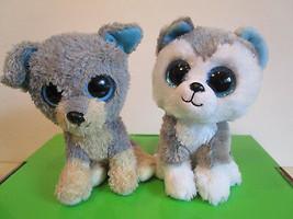 "TY Beanie BOOS 2015 SLUSH & BUDDY, 2 DOGS LOT, 6"" Plush Toys - $7.80"