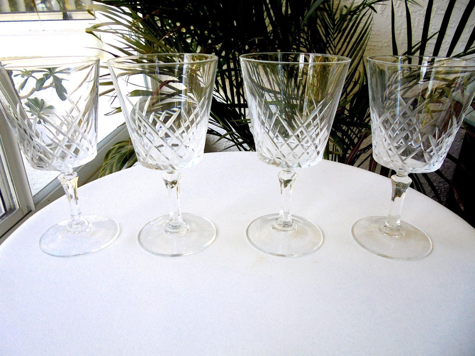 "Primary image for Set of 4 Cris D'Arques CRA-8 Pattern 5 1/2"" Tall Crystal Wine Glasses"