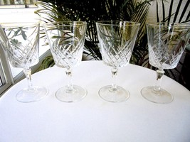 "Set of 4 Cris D'Arques CRA-8 Pattern 5 1/2"" Tall Crystal Wine Glasses - $29.70"