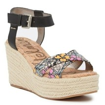 Sam Edelman Destin Espadrille Size 9.5 Wedge Sandal Black Floral Women - $37.36