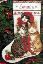 Dimensions Decorated Kitties Cat Christmas Counted Needlepoint Stocking ... - $118.95
