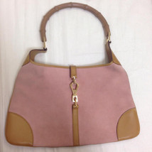 Auth Gucci Hand Bag Pink Inner Pockets Medium Gucci Bamboo Suede Bamboo ... - $109.59
