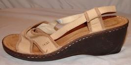 Ugg Australia Wedge Heel Sandals Womens 9 Beige Leather Slingback Shoes ... - £36.54 GBP