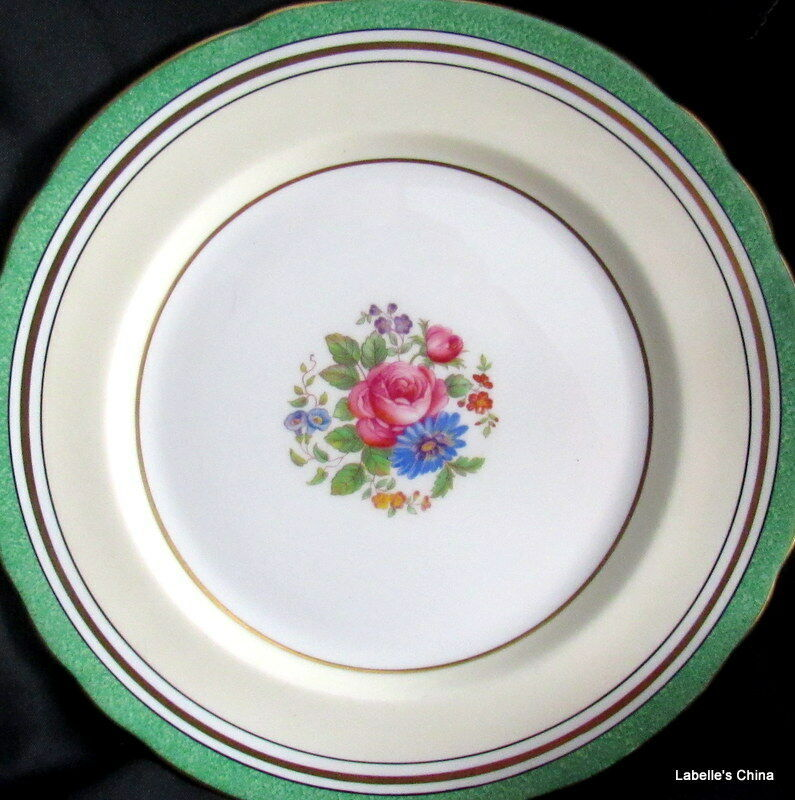 """8"""" Salad Plate Green Flowers 7359 Made in England by Aynsley English Bone China"""