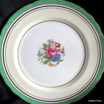 "8"" Salad Plate Green Flowers 7359 Made in England by Aynsley English Bo... - $34.60"