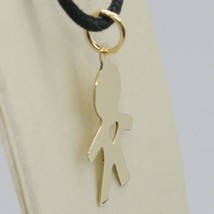 18K YELLOW GOLD LUSTER PENDANT WITH BOY BABY WITH HEART PERFORAT MADE IN ITALY  image 2