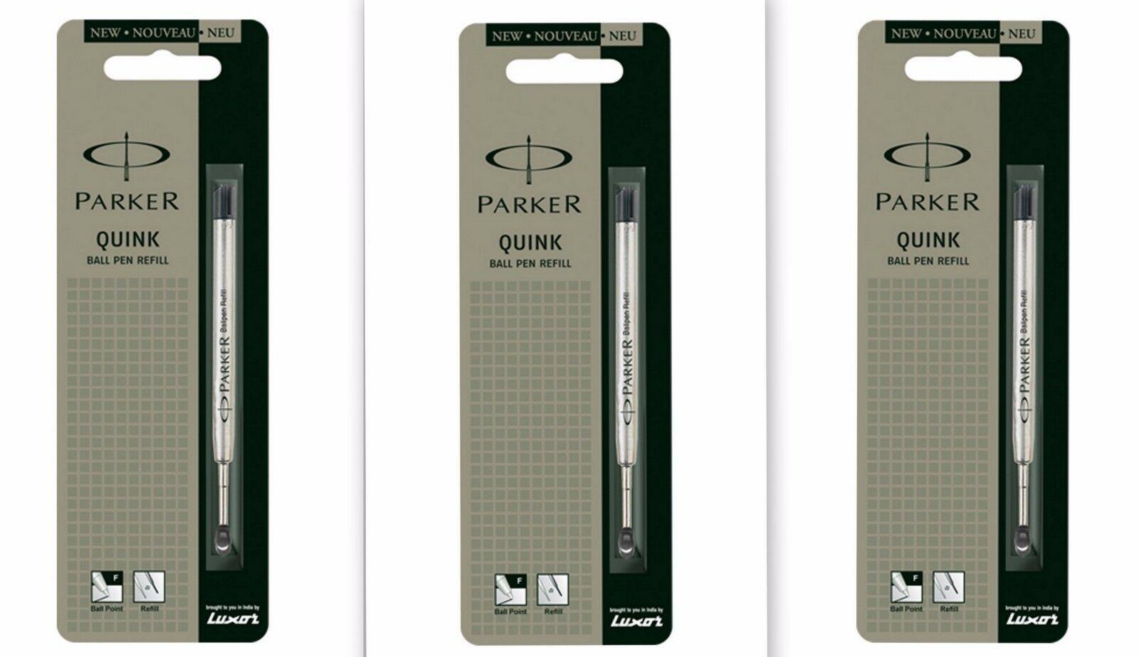 3 x Parker Quink Flow BallPoint Ball point Pen Refills BallPen Black Fine New