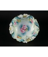 RS Prussia Giant Carnation Bowl w Pink Open Roses, Blue & Gold, Antique ... - $245.00