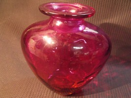 VINTAGE LARGE CRANBERRY AMBERINA ART GLASS VASE - $34.65