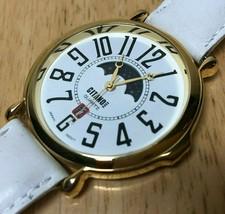 Vintage Gitano Mens Gold Tone Moon Phase Roman Analog Quartz Watch Hour~... - $26.59