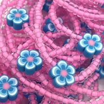 Light Blue Flower Beaded Stretch Bracelets Lot of 36 Kid Size USA Handmade - $41.99