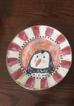 Mackenzie Childs Enamel Rare Penguin Courtly Check Plate Retired & Hard ... - $79.20