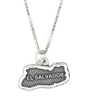 Sterling Silver Travel Country Map Of El Salvador Pendant Necklace - $21.49+