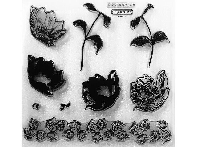 """Close to My Heart """"Elegant Floral"""" Clear Layering Acrylic Stamp Set #D1087"""