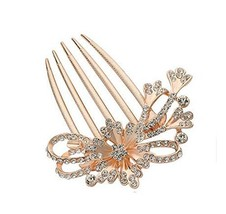 European Style Hair Comb Metal Flower Rhinestones Hair Decoration image 2