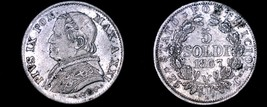 1867-XXIR Italian States Papal States 5 Soldi World Silver Coin - Pius IX - $34.99