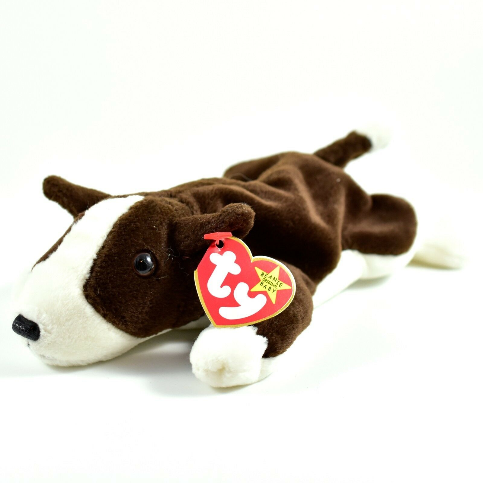 1997 TY Beanie Baby Original Bruno Brown White Dog Beanbag Plush Toy Doll
