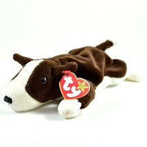 1997 TY Beanie Baby Original Bruno Brown White Dog Beanbag Plush Toy Doll image 1
