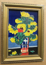 "Handmade & Handpainted ""Sunflowers"" Stained Glass Painting Collectible A... - $175.00"