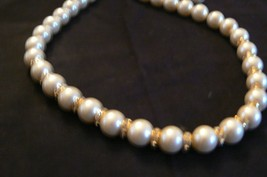 Vintage Napier White Pearl Bead Rhinestone Spacers Goldtone Chain Necklace - $14.84