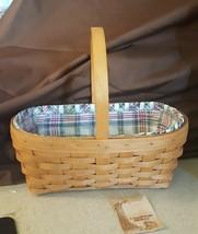 Longaberger 1994 NATURAL Easter Basket With Market Day Plaid Liner & Pro... - $22.00