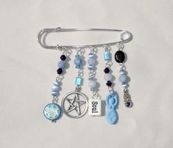 Artisan Blue Gemstone & Silver Tone Coexist Theme Safety Pin Brooch - $16.99