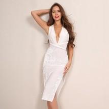 Elegant velvet Dress Double-Side Split v Neck - $27.06