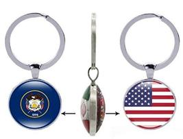 AccessCube 50 USA State Flag Glass Cabochon Keychain Glass Double Sided ... - $4.84