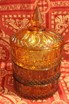 Antique Indiana Glass Amber Princess Four Piece  Stacking Candy Dish - $132.95