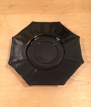Vintage 60s Black Glass Octagon small plates/saucers- set of 5 image 3