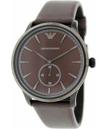 Emporio Armani Classic Burgundy Dial Leather Strap Unisex Watch AR1801 - £86.73 GBP