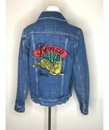 KENZO Womens Bamboo Tiger Jeans Denim Jacket Trucker Blue Sz M - $299.95