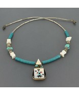Vtg Santo Domingo Liquid Silver Turquoise & Shell Kachina Inlay Pendant ... - $39.99