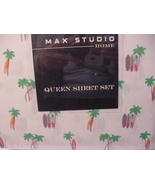Max Studio Palm Trees and Surfboards Microfiber Sheet Set Queen - $66.00