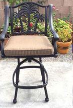 Fire pit propane bar table set 7 piece outdoor cast aluminum Palm Tree bar stool image 9