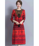 pf200 Sexy craftsman mid skirt w classical printing,Size s-2xl, red - $18.80+