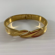 Monet Gold Tone Clamp Bracelet Textured Hinged Clamper Cuff Vintage - $18.81