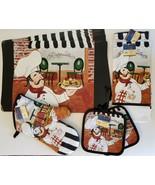 ITALIAN COOK KITCHEN SET 9pc Placemats Towels Mitt Potholder Fat Chef Ristorante - $29.99